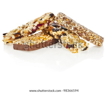 Healthy granola muesli isolated on white background - stock photo