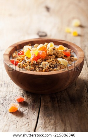 healthy granola with dry fruits for breakfast  - stock photo