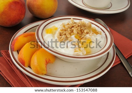 Healthy Greek yogurt with peaches and granola - stock photo