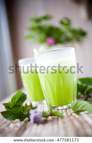 Healthy green juice from fruit and vegetable