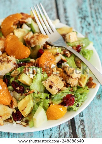 Healthy Green Salad with Mandarin Oranges - stock photo