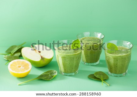 healthy green smoothie with spinach leaves apple lemon - stock photo