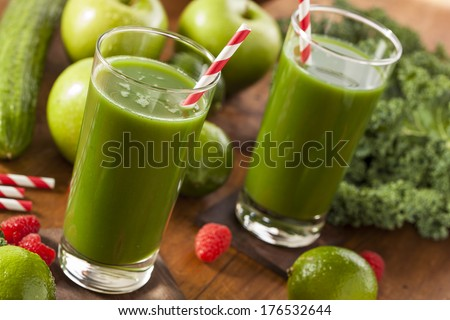 Healthy Green Vegetable and Fruit Smoothie Juice with Apple and Greens - stock photo