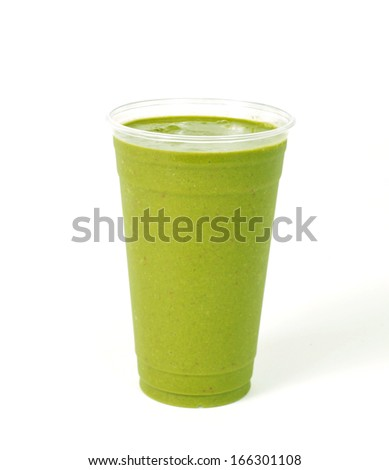 Healthy green vegetable smoothie - stock photo