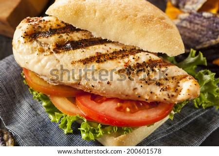 Healthy Grilled Chicken Sandwich with Veggie Chips - stock photo