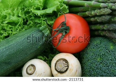 healthy groceries, lettuce, cherry tomatoes and vegetables isolated on white - stock photo