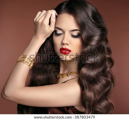 healthy hair makeup beautiful brunette girl stock photo
