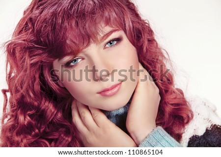Healthy Hair, portrait of teen girl  with blue eyes - stock photo
