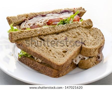 Healthy ham turkey sandwich - stock photo