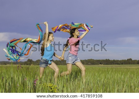 healthy happy kids fun  playing outdoors - stock photo