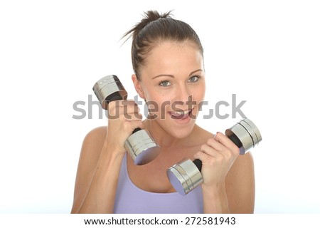 Healthy Happy Young Woman Smiling Training With Dumb Bell Weights