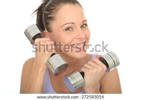 Healthy Happy Young Woman Smiling Training With Dumb Bell Weights  - stock photo