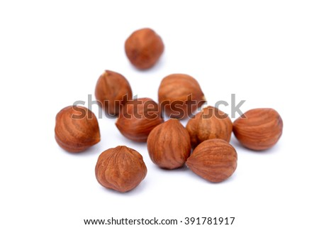 Healthy hazelnut isolated on white background