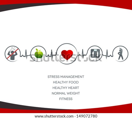 Healthy  heart  and  Wellness illustration.  Healthy food, no stress,  normal weight and fitness leads to healthy heart and life. Symbols connected with heart rate monitoring line. - stock photo
