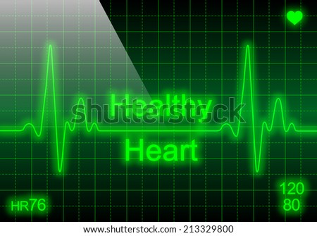 Healthy heart - written on green heart rate monitor expressing excellent heart condition
