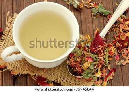 Healthy herbal Tea with rose petals - stock photo