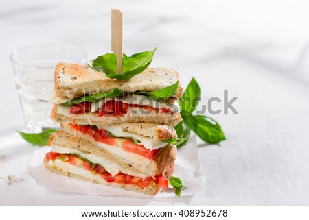 Healthy homemade caprese sandwich with tomato, mozzarella and basil, selective focus - stock photo