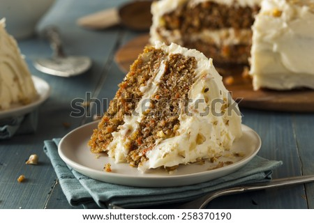 Healthy Homemade Carrot Cake Ready for Easter - stock photo
