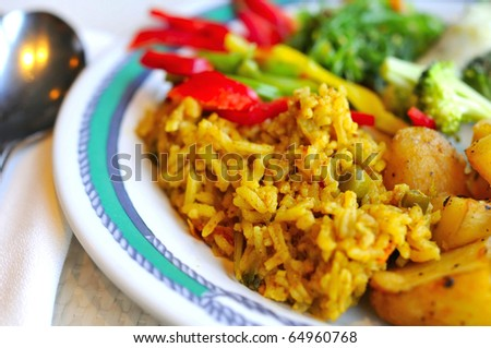 Healthy Indian vegetarian set meal prepared with various Oriental and Asian spices and seasonings.