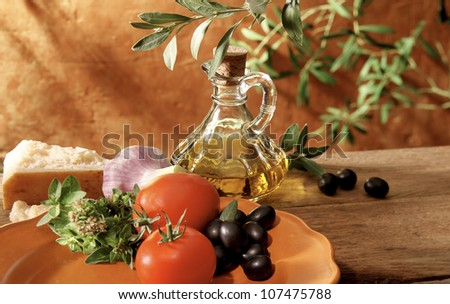 Healthy ingredients in Italian traditional cuisine setting