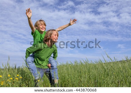 healthy kids playing outdoors in summer