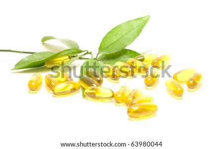 Healthy life concept, leaves and vitamins - stock photo