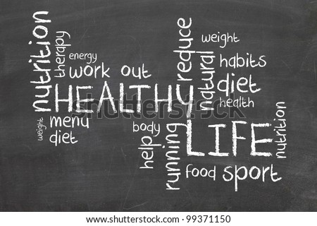 Healthy Life words on blackboard
