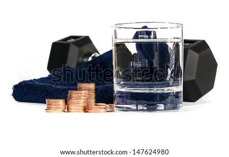 Healthy lifestyle and coins on white background ,Concept for cost of health - stock photo