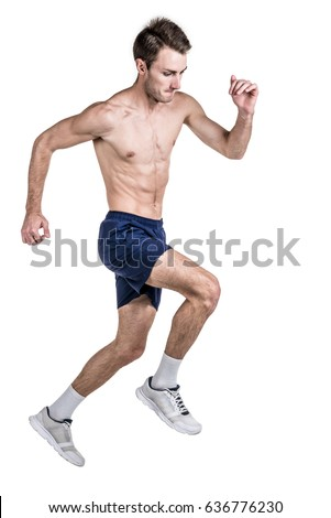 Embarrassed Naked Man Underwear Holding His Stock Photo