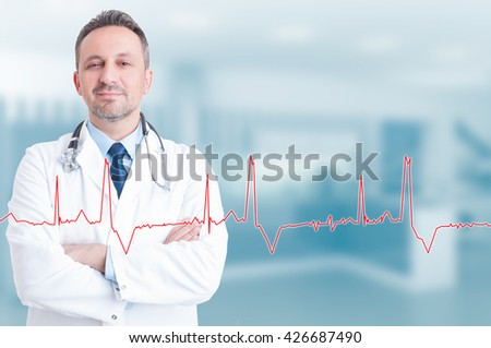 Healthy lifestyle and medical concept with confident young cardiologist and heartbeat diagram with copyspace - stock photo