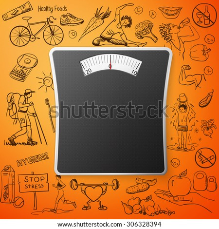 healthy lifestyle background with Bathroom Weight Scale,   - stock photo