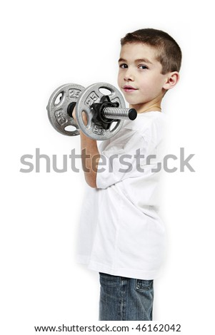 Healthy lifestyle child exercising dumbbell weight - stock photo