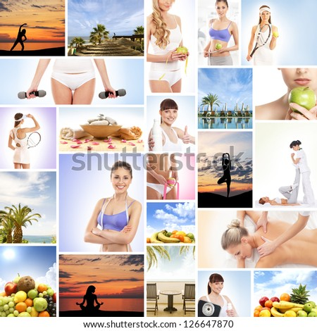 Healthy lifestyle: collage made of different elements - stock photo