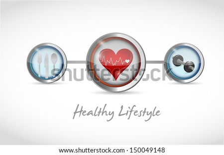 healthy lifestyle concept illustration design over a white background - stock photo