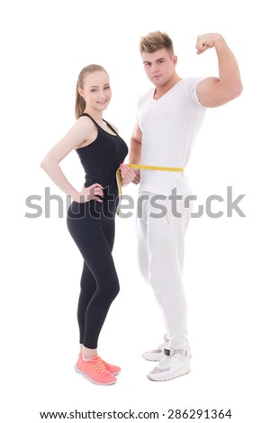 healthy lifestyle concept - muscular man and slim woman isolated on white background - stock photo