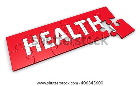 Healthy lifestyle developing concept with health sign and word on a red puzzle 3D illustration isolated on white background.