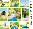 Healthy lifestyle fitness woman outdoor collection. - stock photo