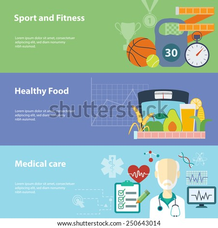 Healthy lifestyle flat banners set. Raster version - stock photo