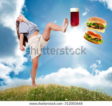 Healthy lifestyle.Fruit. Bad food drop. - stock photo