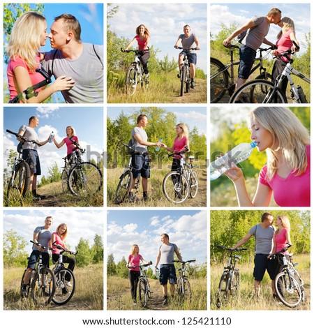 Healthy lifestyle: happy couple biking in the forest at summer - stock photo