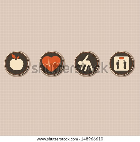 Healthy lifestyle.  Healthy food and fitness leads to healthy heart and healthy body. - stock photo