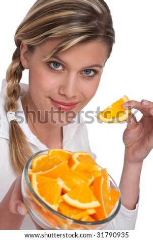 Healthy lifestyle series - Woman holding orange on white background