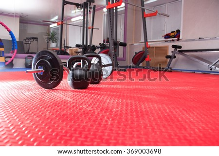 Healthy lifestyle symbol. Sports stock set in gym hall - stock photo