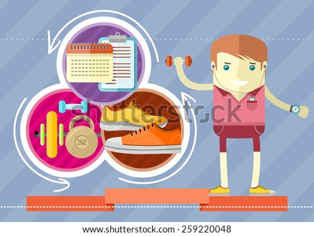 Healthy lifestyle trainings. Coach man icon with dumbbell and stopwatch in hand in flat design. Raster version - stock photo