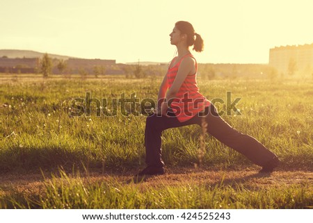 healthy lifestyle young sporty woman Outdoors