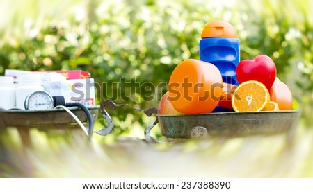 Healthy living with healthy food - stock photo