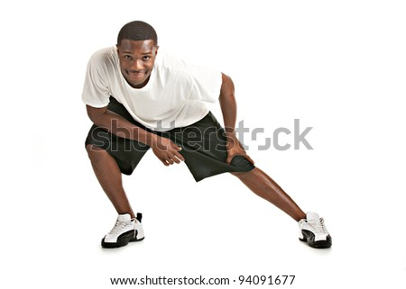 Healthy Looking Happy Young African American Male Ready Workout Isolated on White Background - stock photo
