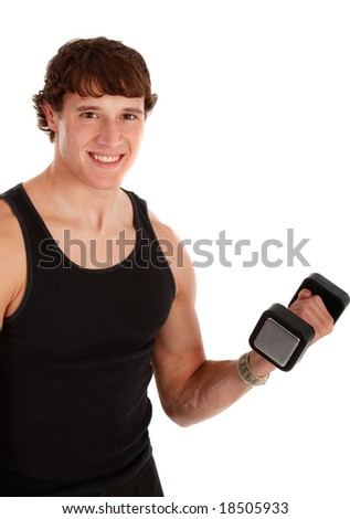 Healthy Looking Young Man Lifting Weight on Isolated Background