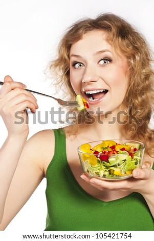 Healthy lovely woman, with salad
