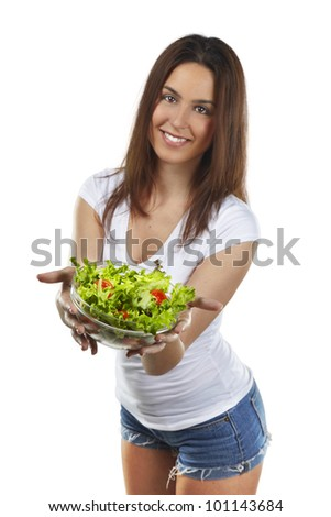 healthy lovely woman with salad on white background